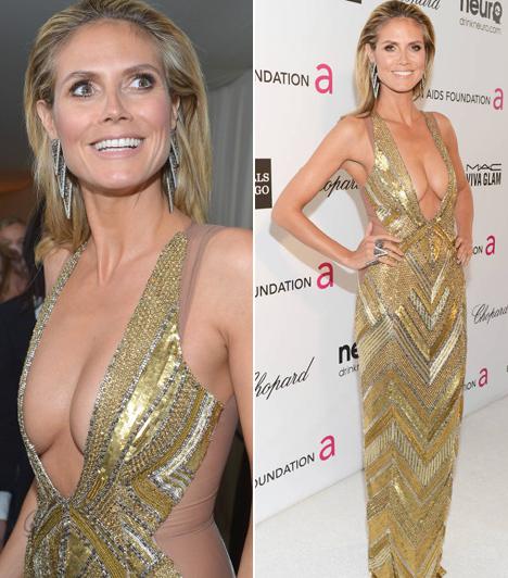 Heidi Klum                         A német szupermodell nem egy szégyenlős fajta: aranyszínű Julien McDonald ruhájában alaposan megvillantotta a dekoltázsát 2013-ban.