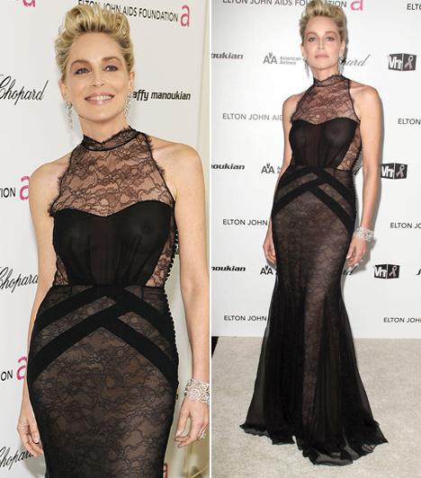 Sharon Stone                         A '90-es évek szexszimbóluma áttetsző Christian Dior ruhájában - ami alá melltartót sem húzott - megkapta a 2009-es gála legmerészebben öltözött sztárja címet.