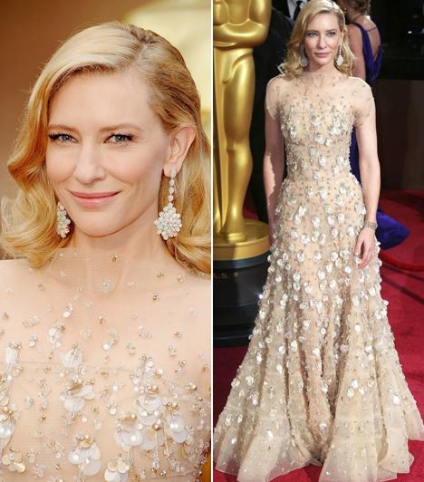 Cate Blanchett                         A kétszeres Oscar-díjas sztár káprázatosan festett ebben az egyedi, flitterekkel díszített, púderszínű Armani ruhában.