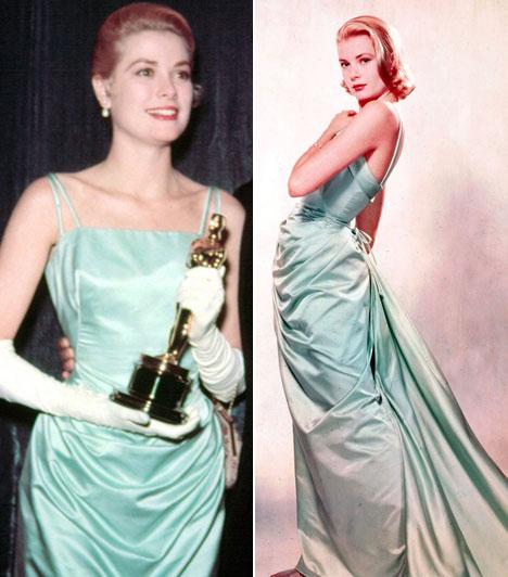 Grace Kelly   1955-ben Edith Heard gyönyörű estélyijében pompázott a vörös szőnyegen. Minden idők legjobb női színésznőjévé választották a Country Girl című filmben nyújtott alakításáért.