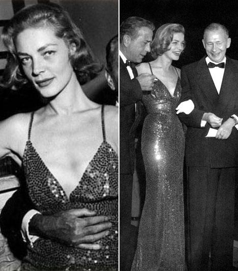 Lauren Bacall  A Hogyan fogunk milliomost sztárja egy mélyen dekoltált, szűk fazonú, flitteres estélyit választott magának az 1953-as Oscar-gálára.