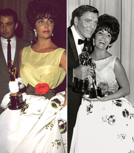 Elizabeth Taylor  A kétszeres Oscar-díjas híresség első aranyszobrocskáját 1960-ban nyerte meg, a díjat pedig ebben a gyönyörű Christian Dior ruhában vette át.