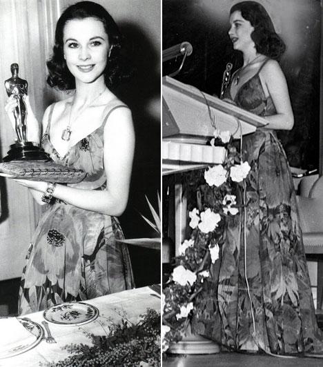 Vivien Leight  A színésznő 1940-ben ebben a virágmintás, pipacsokkal teli estélyiben vette át az Elfújta a szél című filmben nyújtott alakításáért az aranyszobrocskát.