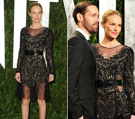 Kate Bosworth ebben az átlátszó és csillogó Prabal Gurung ruhában ment az Oscar előtt rendezett exkluzív partira, de nem nyerte el a divatkritikusok tetszését.