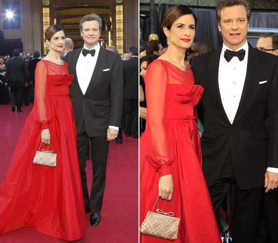 Colin Firth felesége, Livia Giuggioli sokak szerint nagyon mellélőtt ezzel a vörös, átlátszó ujjú Valentino estélyivel.