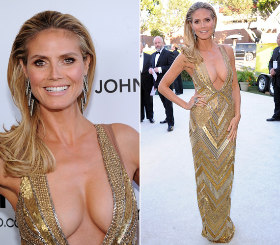 Heidi Klum modell kiérdemelhette volna a legközönségesebben öltözködő sztár címét - hiába volt drága a Julien MacDonald ruha és Lorraine Schwartz ékszerek.