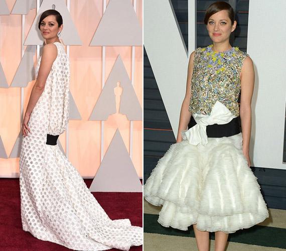 Marion Cotillard az Oscar-gálára egy Christian Dior-darabban érkezett, mely stílusában emlékeztetett Jennifer Lawrence sokat szidott Golden Globe-os megjelenésére. A francia színésznő az afterpartin sem tudott szépíteni, sőt, valaki szólhatott volna neki, hogy ez a ruha csúf.