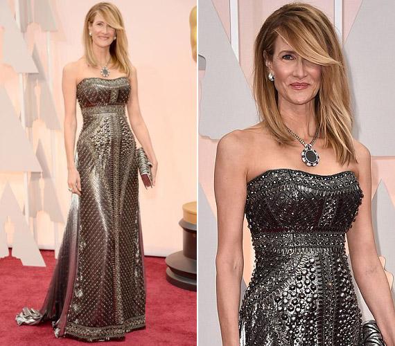 A legjobb női mellékszereplőnek járó díjra jelölték Laura Dernt, ám a köves, ezüstös ruha nem volt jó választás, valamint a frizuráját is megszólták a kritikusok.