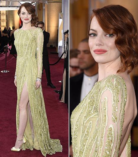 Emma Stone                         A legjobb női mellékszereplő kategória jelöltje egy Elie Saab Haute Couture kivizöld estélyiben mutatta meg karcsú alakját.