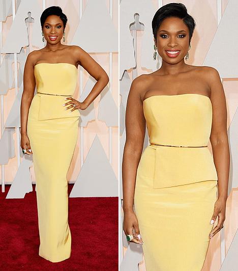 Jennifer Hudson  Jennifer Hudson alakot hangsúlyozó sárga ruháját Romona Keveza kollekciójából választotta.