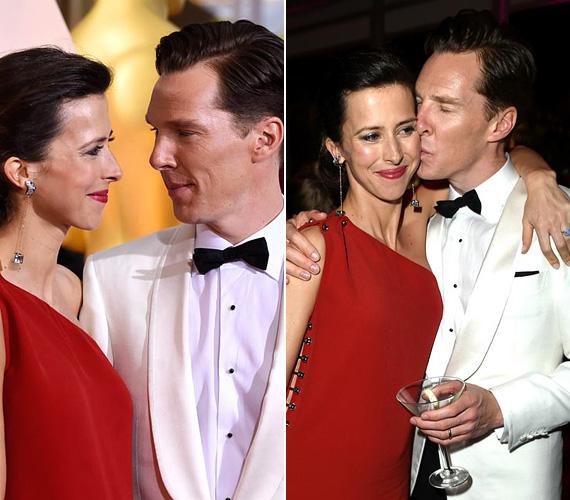Benedict Cumberbatch, a Kódjátszma sztárja és újdonsült felesége, Sophie Hunter nagyon elegánsak voltak a gálán, a várandós színházi rendező hölgy csak úgy ragyogott vörös ruhájában, melyet jól kiegészített férje fehér szmokingja. A párról rengeteg fotó készült, ezek bensőséges pillanatokat is megörökítettek, ahogy egymás szemébe néztek szerelmesen vagy amikor a színész vágyakozó csókot adott kedvese arcára.