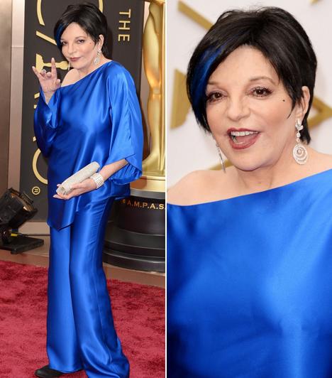 Liza Minnelli                         Mivel az idei Oscar-gálán megemlékeztek Judy Garlandról is, így természetesen lánya, a most 67 éves Liza Minnelli is megjelent az átadón. Az egykori díva egy kék Halston darabot választott, és még hajába is tett színben harmonizáló tincseket.