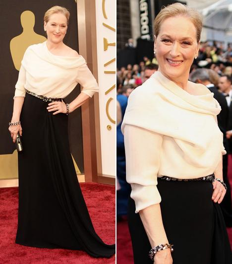 Meryl StreepMár 18. alkalommal jelölték a színésznőt és mindenki az egyik fő esélyesnek tartotta, ám végül mégsem ő kapta meg az arany szobrocskát. A 64 éves színésznő egy egyszerű fekete-fehér Lanvin darabot választott.