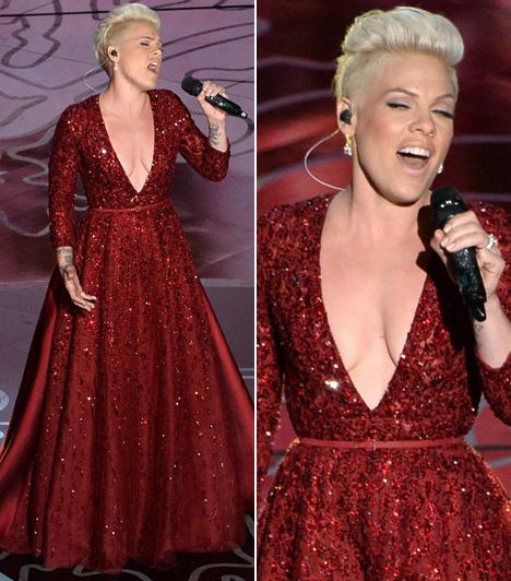 PinkAz énekesnő egy igen merész ruhában lépett fel és az Óz, a csodák csodája filmből énekelte el az Over the rainbow című számot.