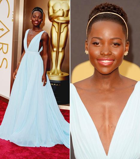 Lupita Nyong'oA legjobb mellékszereplőnek járó díjat 2014-ben a 30 éves színésznő kapta. A gálára egy halványkék Prada ruhában érkezett és mint mondta, csak neki készítették a ruhát, melynek színe Nairobira emlékezteti.