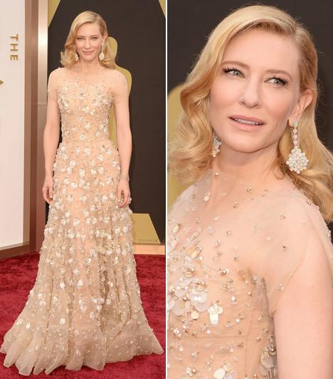 Cate BlanchettA legjobb női főszereplőnek járó Oscart a színésznő Armani kreációjában vette át. A Blue Jasmine-ban nyújtott alakítása miatt díjazták