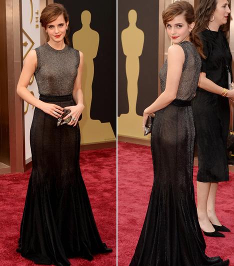 Emma Watson                         A Harry Potter sztárja ma már divatikonná nőtte ki magát, a 2014-es Oscar-átadóra egy Vera Wang-kreációban érkezett.