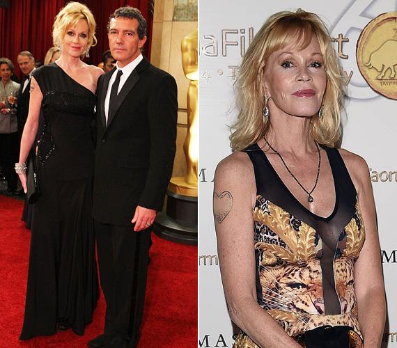 Melanie Griffith és Antonio Banderas legutóbb a 2012-es Oscar-gálán jelent meg kéz a kézben, és sokan irigyelték őket, hogy még annyi idő elteltével is imádják egymást - annak ellenére, hogy a színésznő depresszióval küzdött, és az alkohollal is meggyűlt a baja. 2014-ben aztán kiderült, nem megy tovább együtt, a pár 18 év házasság után a nyáron beadta a válópert. Azóta Melanie Griffith igyekszik eltörölni az elmúlt éveket, még az Antonio-tetoválását is leradírozná, ha tudná.