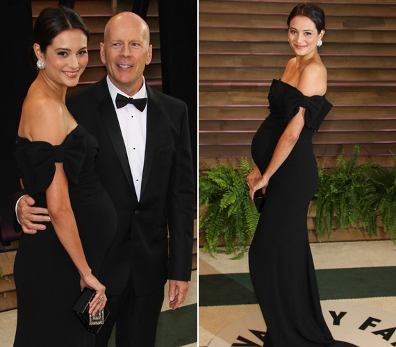 Bruce Willis bájos neje, Emma Heming a klasszikus feketére szavazott, amikor az Oscart követő Vanity Fair-partin megjelent.