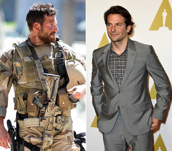 """Bradley Cooper: Chris Kyle az Amerikai mesterlövészben. A Másnaposokkal befutó színész az utóbbi időben főként a drámai vonalra erősített rá, az Oscar-jelölése pedig azt bizonyítja, hogy megéri a fáradozás. Az Amerikai mesterlövészben egy tengerészgyalogos-kommandósból vált mesterlövészt formál meg, a szerep kedvéért 20 kilót magára kellett pakolnia, főként izomban. Az alapból 83 kilós sztár a Men's Health magazinnak árulta el, hogy napi 6000 kalóriát kellett ennie, az öt alap étkezésen felül energiaszeleteket és proteinitalokat is fogyasztott. """"El kellett jutnom arra az állapotra, hogy elhiggyem, én ő vagyok. 83 kilósan egy vicc lett volna az egész, Chris nem volt vékony és inas, sokkal inkább egy nagydarab fickó""""."""