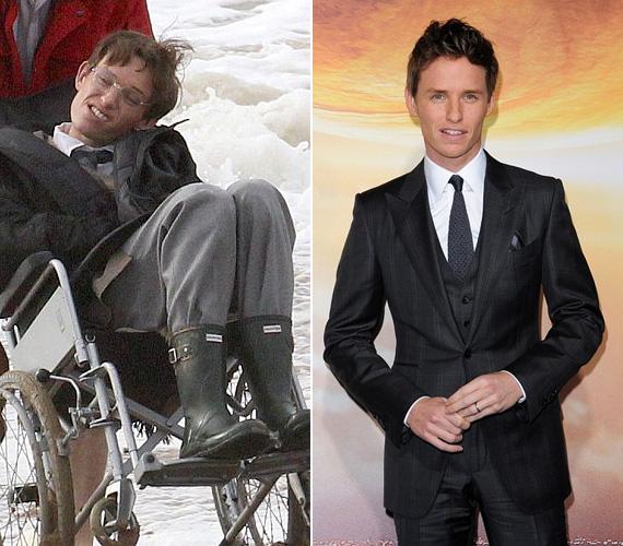Eddie Redmayne: Stephen Hawking A mindenség elméletében. A 32 éves angol színész nevét mindenki megjegyezte az utóbbi hónapokban, hiszen alakításával már megnyerte a Golden Globe és a BAFTA díját, így kíváncsian várja a világ, vajon az Oscar is az övé lesz-e. Az ALS-ben szenvedő elméleti fizikus megformálása végett Eddie Redmayne tánctanárhoz járt, hogy a betegséggel járó mozdulatokat hitelesen vissza tudja adni. Emellett rendszeresen ellátogatott egy londoni ALS klinikára és találkozott a betegekkel is, akik szintén segítettek neki a Hawkinggé lényegülésben.