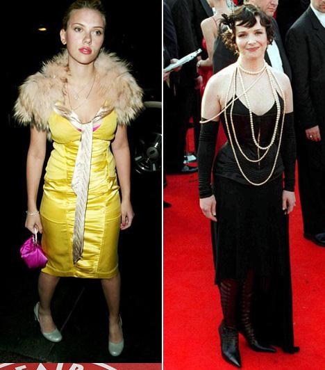 Amikor valami túl sokNem is értjük, mit gondolt Scarlett Johansson, amikor 2004-ben összeállította a szettjét. Sajnos a szőrmével díszített, fényes anyagból készült kanárisárga ruha, párosítva a magenta táskával szinte sokkolja a szépérzéket. De Juliette Binoche 2001-es Jean Paul Gautier fűzős kreációja sem nyerte el a többség tetszését, ami a sok gyöngysorral valahogy túl soknak tűnt.