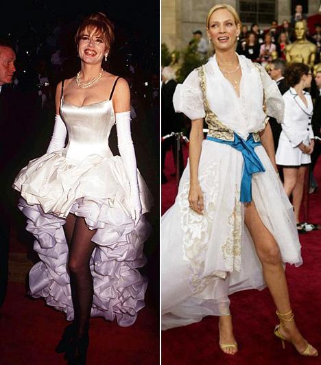 Csipkék és fodrok minden mennyiségbenA csipke és a fodor is lehet elegáns és szexi, de nem így. Geena Davis 1992-es, kánkántáncosnőkre emlékeztető ruhája vagy Uma Thurman 2004-es csipkés-bodros, arannyal és kékkel kombinált borzadványa inkább való egy jelmezbálra, mint az Oscarra.