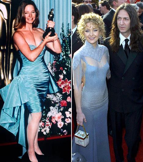 Babakék ruhaA babakék nagyon cuki a kisfiú babákon, de az Oscar-gálán már kevésbé. Jodie Foster 1989-ben lőtt mellé ezzel a színnel, Kate Hudson pedig - aki ezzel a hajjal szinte felismerhetetlen - 2001-ben.