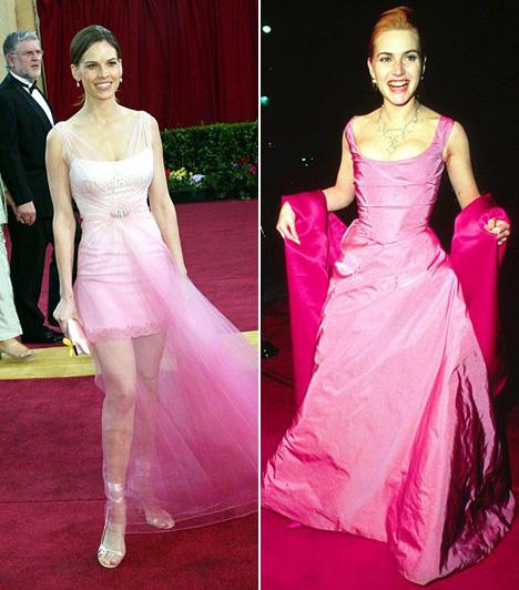 Rózsaszín ruhaAhogy a babakék a rugdalózós kisfiúknak, úgy a rózsaszín a kicsi lánykáknak való, és nem az Oscar-gálára, ahol az ember lánya leginkább puncsfagyinak néz ki bennük. Nem is értjük, mit gondolt 2003-ban Hilary Swank, amikor hagyta magát rábeszélni erre a ruhára. Kate Winsletnél sem volt jó választás 1996-ban.