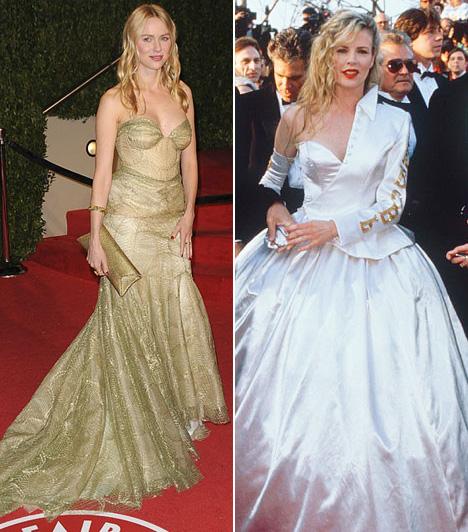 Hercegnő fazonBiztosan van, akin ezek a ruhák jól mutattak volna, de sajnos sem Naomi Watts, sem pedig Kim Basinger nem tartozik közéjük. Előbbi 2009-ben, utóbbi 1990-ben lépett a vörös szőnyegre a képeken látható estélyikben, de láthatóan még ők sem érezték túl jól magukat benne.