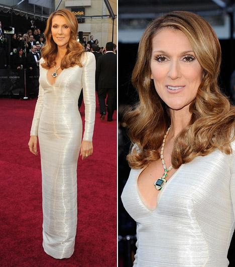 Celine Dion  Az énekesnő hosszú ujjú, földig érő estélyiben érkezett, melynek ezüstös ragyogását az Armaninál álmodták meg.  Kapcsolódó cikk: A 2011-es Golden Globe legdögösebb sztárjai »