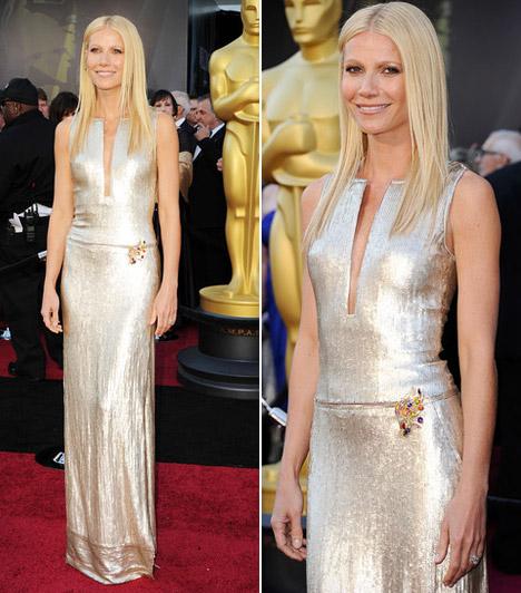 Gwyneth Paltrow  Gwyneth Paltrow különleges kivágású, ezüstösen csillogó Calvin Klein-nagyestélyit viselt - megjelenését finom elegancia jellemezte.