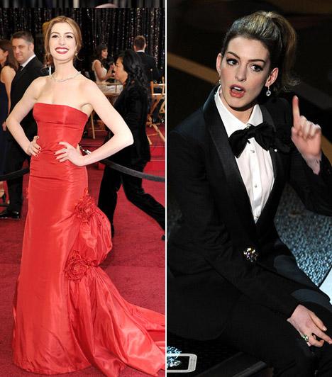 Anne Hathaway  Anne Hathaway a gála háziasszonyaként többször is átöltözött. Dögös vörös Valentino-ruhájában igazi dívaként pózolt, de amikor műsorvezetőtársával, James Francóval viccesen ruhát cseréltek, még a csokornyakkendő is jól állt neki.