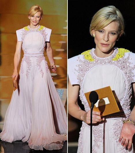 Cate Blanchett  A visszafogott sztár ezúttal is a szolid elegancia híve volt, gyöngyökkel kivarrt Givenchy-ruhában lépett a közönség elé - ő volt az egyik díjátadó.