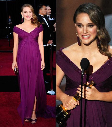 Natalie Portman  A pocakkal is kislányosan bájos Natalie Portman lila Rodarte-ruhában tündökölt - volt oka az örömre, hiszen a Fekete hattyúért megkapta a legjobb színésznőnek járó szobrocskát.  Kapcsolódó sztárlexikon: Ilyen volt, ilyen lett: Natalie Portman »