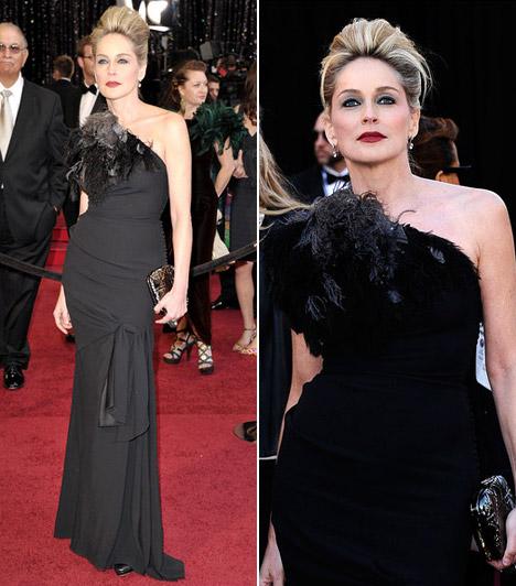 Sharon Stone  Az 50 fölött is bombázó Sharon Stone egy aszimetrikus fekete nagyestélyi mellett döntött - ruhája mellrészét rojtok és tollak díszítették.  Kapcsolódó cikk: Sharon Stone testhezálló bőrruhában pózolt »