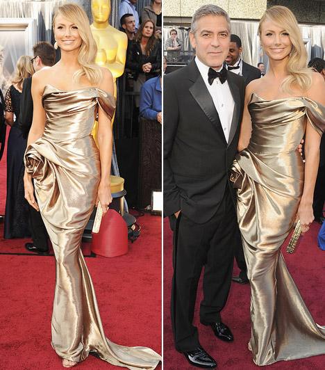 Stacy Keibler  George Clooney idén nem nyert Oscart, de az talán vigaszt jelentett számára, hogy az ő kísérője volt az egyik legcsinosabb nő a gálán. Stacy Keibler tündökölt arany Marchesa ruhájában.  Kapcsolódó cikk: Máris továbblépett? George Clooney ezzel a szőkeséggel vigasztalódik