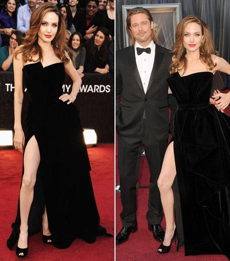 Angelina Jolie  A színésznő egy fekete, klasszikus szabású, pánt nélküli Atelier Versace estélyiben mutatta meg hosszú lábait a vörös szőnyegen. Párja, Brad Pitt nagyon büszke volt rá: annak ellenére, hogy idén sem nyerte el az aranyszobrocskát, ő tűnt a legboldogabbnak a gálán.  Kapcsolódó cikk: Mindenkit elbűvölt! Angelina Jolie fekete csipkeruhában lépett a vörös szőnyegre