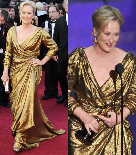 Meryl Streep  A színésznő aranyban érkezett, és Lanvin ruhájához méltóan aranyszobrocskával távozott: a Vaslady című moziban nyújtott alakításáért is megkapta az Oscart, 17 jelöléséből a harmadikat váltva díjra.