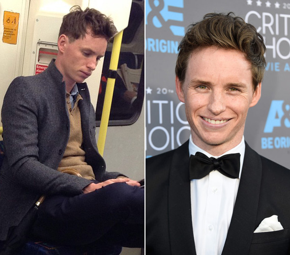 Ugyancsak a legjobb férfi főszereplőnek jelölték 2015-ben Eddie Redmayne-t, aki A mindenség elmélete című életrajzi drámában formálta meg Stephen Hawkingot. A 33 éves angol színészt a londoni metrón kapták le, amint a gondolataiba mélyedve üldögélt.