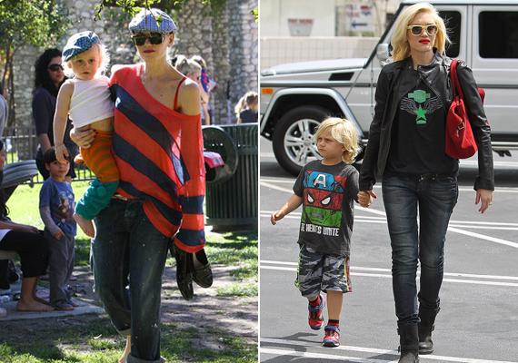 Gwen Stefani igazán vagány anyuka! Kisfiát, Kingstont ugyanolyan rockos szerkókba öltözteti, mint amilyeneket ő húz magára.