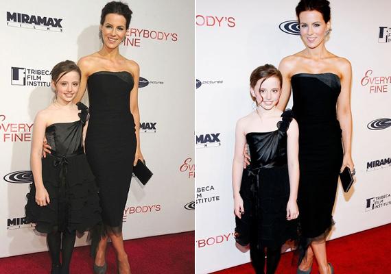 Kate Beckinsale ugyanolyan stílusos, fekete estélyi ruhát húzott kislányára, Lilyre, mint amilyenen rajta volt a Mindenki megvan című film premierén, 2009-ben.
