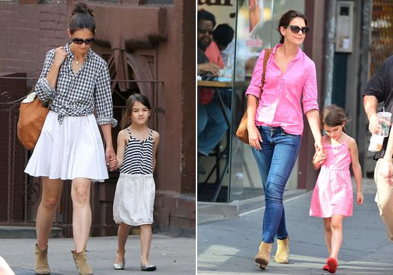 Katie Holmes és kislánya, Suri sokszor öltöznek egyforma ruhákba. Anya és lánya nagyon stílusosak csíkosban és pinkben is.