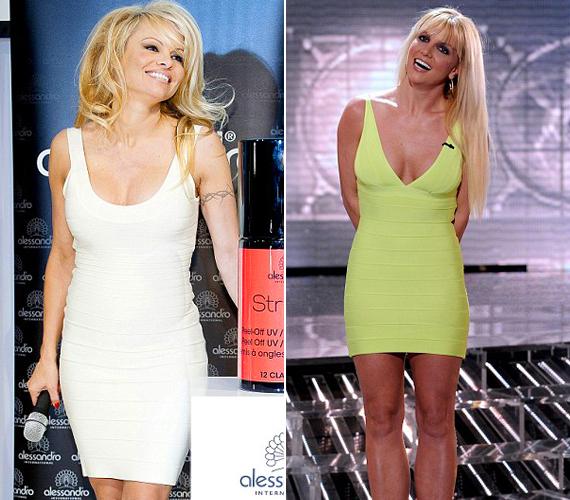 Míg Britney Spears egy merészebb változatot vett fel, addig Pamela Anderson egy kivágásban és színben is szolidabb darab mellett döntött.