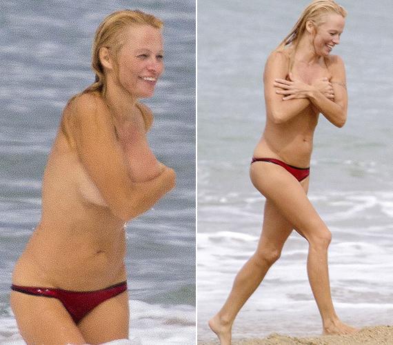 Pamela Anderson nevetve takargatta kebleit, miután topless ment be a vízbe.