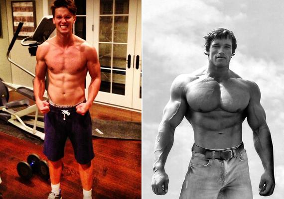 Ezen a pár hónappal ezelőtti képen azért látszik, még egy kicsit edzenie kell ahhoz, hogy utolérje édesapját, Arnoldot, aki fénykorában robusztusabb volt.