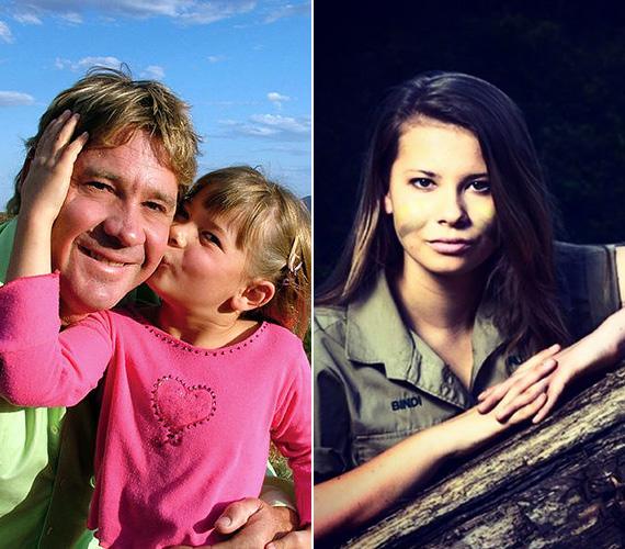 """Bindi Irwin 2006 szeptemberében veszítette el édesapját, amikor ő nyolcéves volt - az ismert krokodilvadászt egy tüskés rája szúrta halálra. A ma már 16 éves Bindi igyekszik apja nyomdokaiba lépni, 2012-ben tévéműsort is vezetett öccsével, melyben a queenslandi Australia Zoo állatkert vadállatait mutatták be. """"A keki nem egy szín, hanem egy életstílus"""" - írta jobb oldali fotóhoz az Instagramján, utalva arra a ruházatra, amelyet apja is a legtöbbször viselt."""