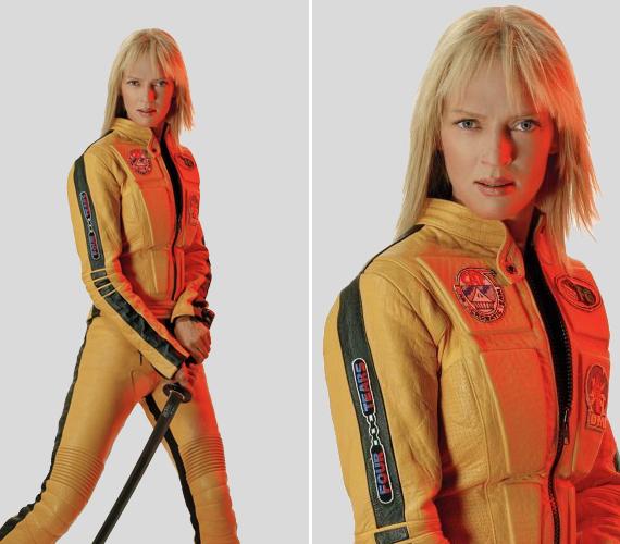 Uma Thurman, aki idén 45 éves, 2003-ban Tarantino Kill Bill című filmjében vette fel az itt látható sárga bőrruhát, hogy ebben számoljon le ellenségeivel.
