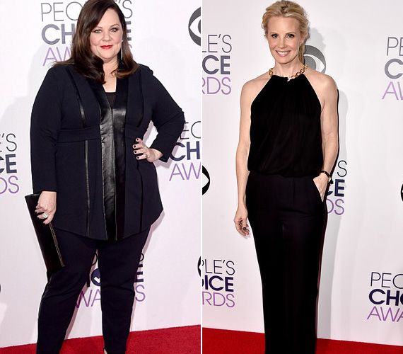 Fekete nadrágos összeállítás: Melissa McCarthy - aki megnyerte a kedvenc komika díját - büszkén mutatta meg 20 kilóval könnyebb önmagát a gálán, míg Monica Potter színésznő Diane von Fürstenberg szettet viselt, mely ujjatlan felsővel kombinálta a klasszikus, bő szárú nadrágot.