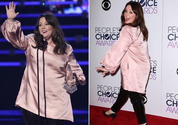 Habár Melissa McCarthy rengeteget fogyott, még mindig bő ruhákkal igyekszik takarni a testét. Ettől függetlenül ebben a babarózsaszín felsőben nagyon bájosan festett, és még a legjobb női televíziós szereplőnek járó díjat is bezsebelte.